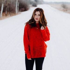 Free People Lace Red Top